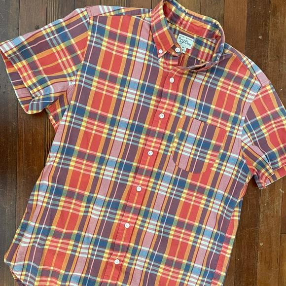 J. Crew Madras Shirt - Men's M - Orange Plaid